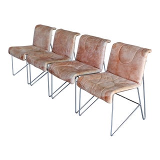 1970s Mariani Leather & Chrome Italian Modern Dining Chairs - Set of 4 For Sale
