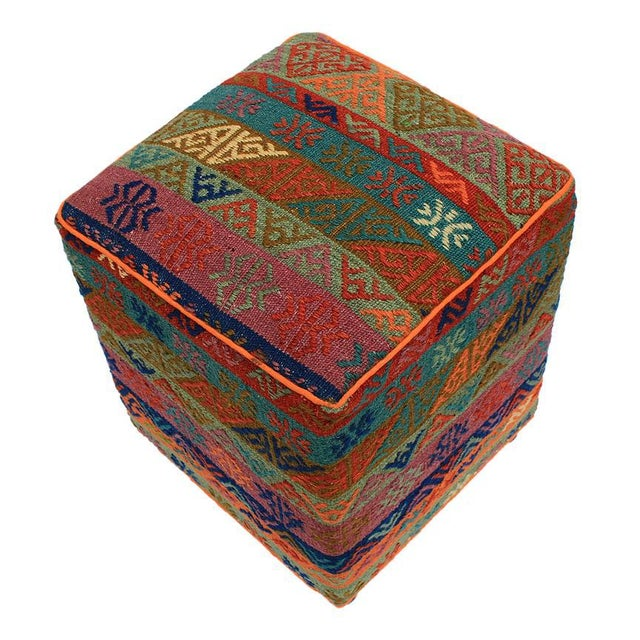 Boho Chic Boho Chic Hahn Orange/Green Handmade Soumakh Upholstered Ottoman For Sale - Image 3 of 8