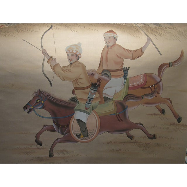 Asian Painted Hunting Scene Mural Wallcovering For Sale - Image 3 of 12