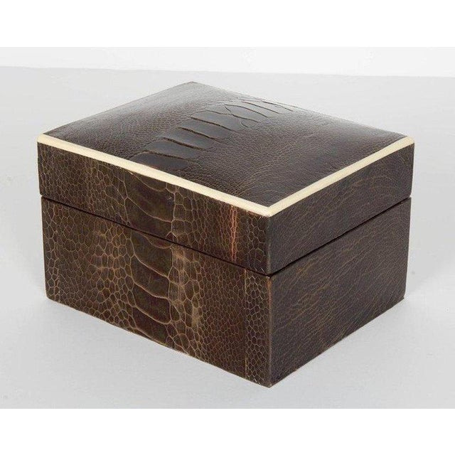 2010s Pair of R & Y Augousti Decorative Boxes in Exotic Ostrich Leather With Bone Inlay For Sale - Image 5 of 13