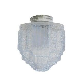 Art Deco Opalescent Ice Blue Stepped Skyscraper Ceiling Glass Globe Pendant For Sale