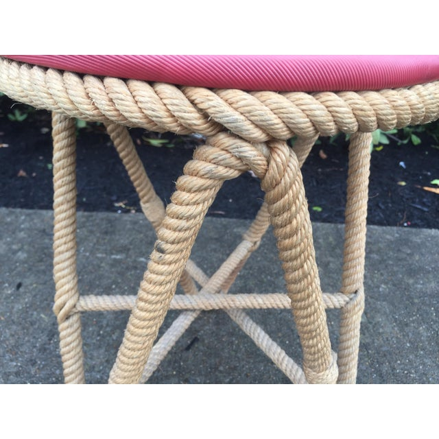 French Vintage French Rope Stool For Sale - Image 3 of 5