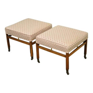 Vintage Mid Century Modern Walnut & Brass Upholstered Ottomans- A Pair For Sale