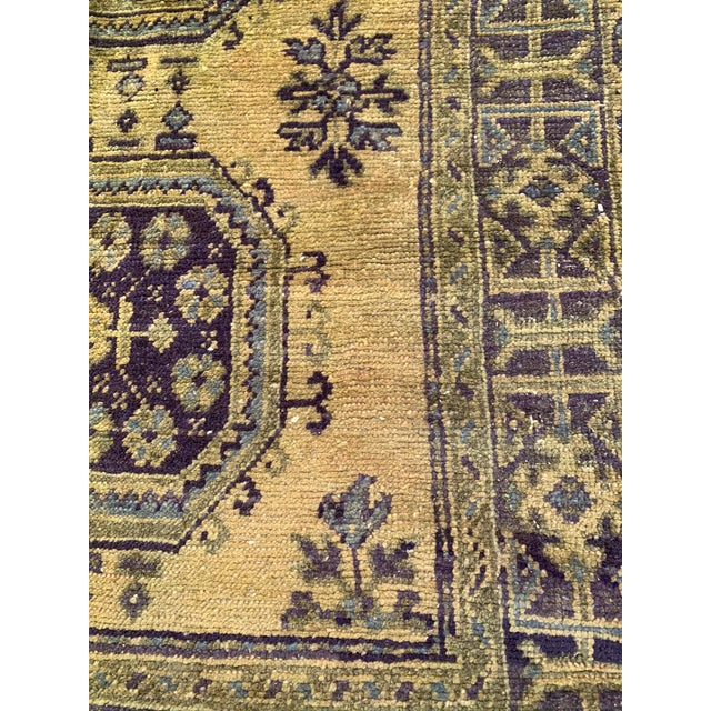 Islamic Vintage Turkish Runner in Olive Green- 4′7″ × 11′8″ For Sale - Image 3 of 10