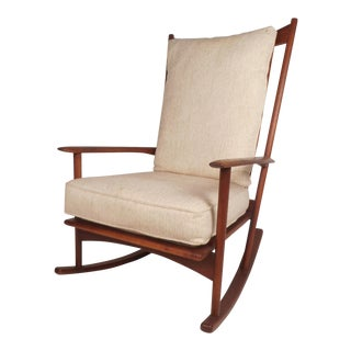Mid-Century Modern Walnut Rocking Chair by Selig For Sale