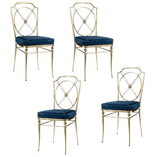 Fabulous & Rare French Bronze Side Chairs With Paw Feet, Set-4 For Sale