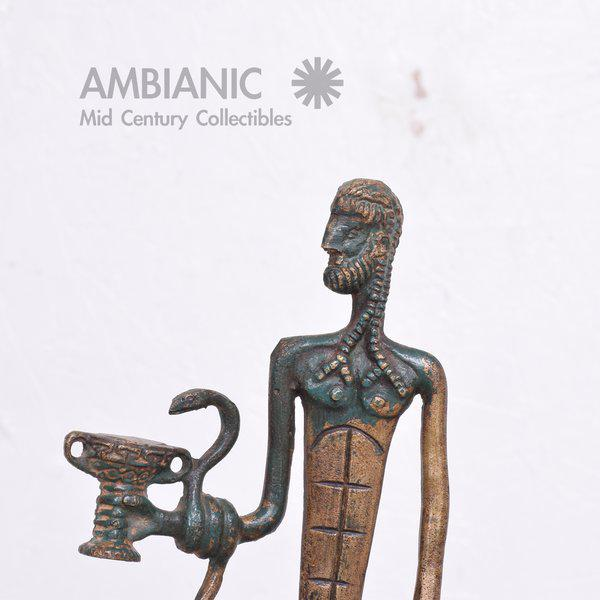 Modernist Bronze Sculpture Sumerian God with Snake & Cup - Image 3 of 10