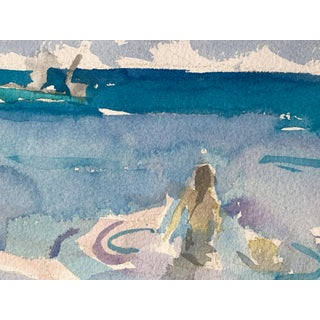 Seascape Landscape Woman Wading (Key West) Original Watercolor Painting by Rebecca Dvorak Preview