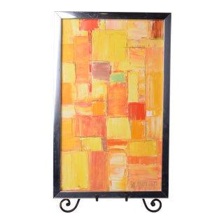 McCouch Original Abstract Mid-Century Modern Acrylic Painting Framed For Sale