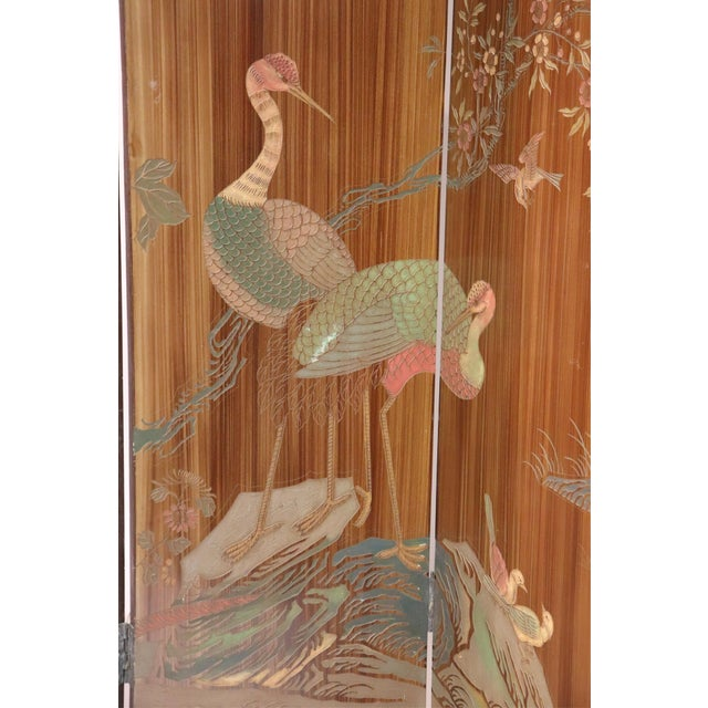 Chinoiserie Large Caramel Hand Painted Chinoiserie Screen For Sale - Image 3 of 5