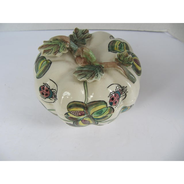 Beautiful chinoiserie porcelain pumpkin dish from the well know and recently closed Charles Willis boutique in Atlanta.