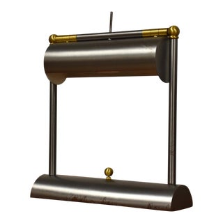 Steel & Brass Bank Lamp by George Kovacs For Sale