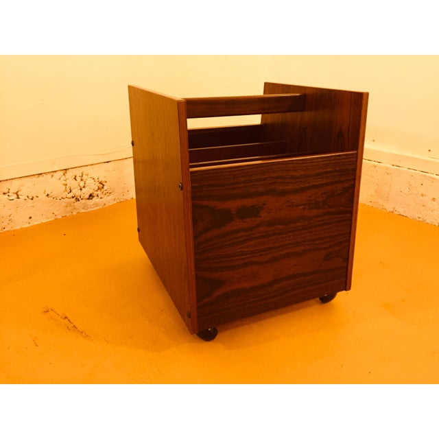 Rosewood Single Rolling MCM Record Album Holder by Rolf Hesland for Bruksbo, Norway For Sale - Image 13 of 13