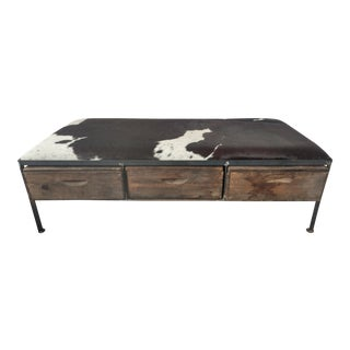 Cowhide Bench With California Fruit Boxes as Storage Drawers For Sale