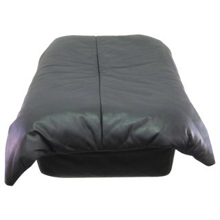 Black Leather Ottoman By Ligne Roset