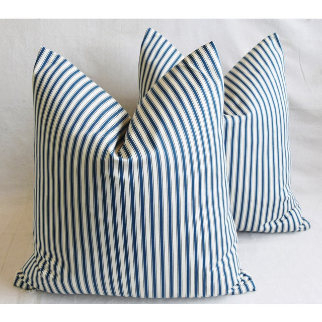 """French Blue & White Feather/Down Ticking Striped Pillows 23"""" Square - Pair For Sale - Image 12 of 13"""