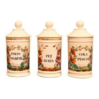 Set of 3 Porcelain Apothecary Jars, Circa: 1820, Paris For Sale