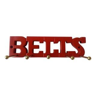 """Vintage Red """"Belts"""" Rack For Sale"""