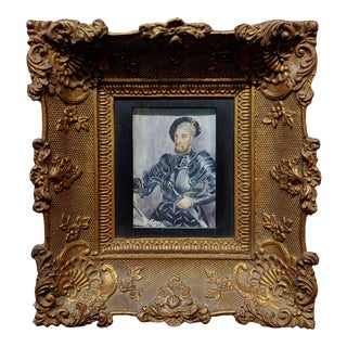 Miniature Portrait of a Gentleman Wearing an Armor Suit -18th Century Oil Painting For Sale