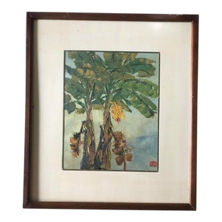 Vintage Tropical Oil Painting For Sale