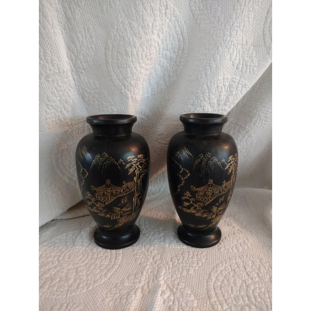1940s Japanese Ceramic Satsuma Vases - a Pair For Sale - Image 4 of 6