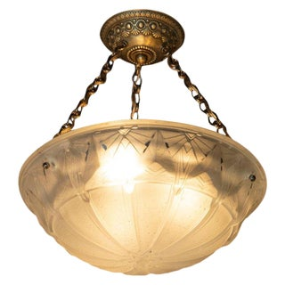 Muller Frerès French Art Deco Handblown Glass Pendant With Gilt Brass Fittings For Sale