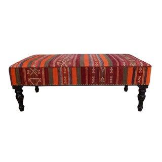 Dorie Orange/Purple Handmade Kilim Upholstered Settee