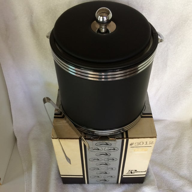 Vintage Black and Chrome Kraftware Ice Bucket & Tongs in Original Box For Sale - Image 11 of 13