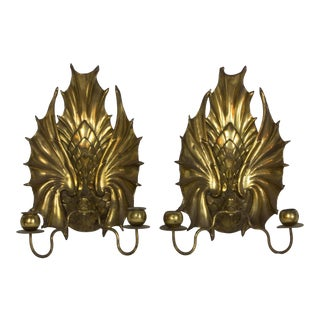 Edwardian Winged Serpent Candle Sconces - a Pair For Sale