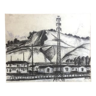 "1955 Bay Area Landscape Drawing ""Behind San Leandro"" For Sale"