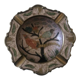 1970s Brass Bird Ashtray With Painted Inlay For Sale