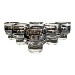 Silver Rimmed Rocks Glasses – Set of 6