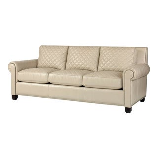 Century Furniture Lyndon Quilted Sofa, Frost Leather For Sale