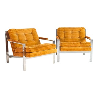 Vintage Mid Century Milo Baughman Style Cy Mann Flat Bar Chrome Lounge Chairs- A Pair For Sale