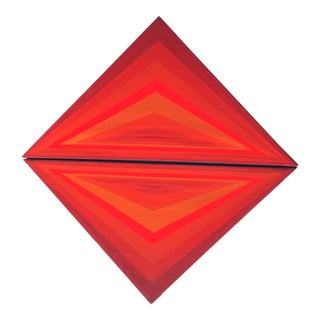 1970s Vintage Triangular Color Field Paintings - A Pair For Sale