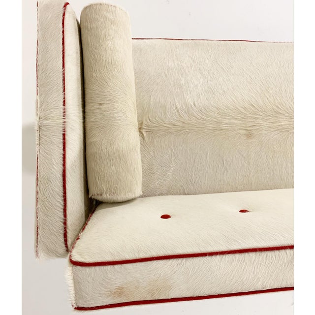 Animal Skin Vintage Edward Wormley for Dunbar Model 5316 Sofa Restored in Brazilian Cowhide With Loro Piana Red Cashmere Welting For Sale - Image 7 of 11
