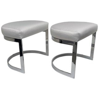 "Milo Baughman 1970s ""Horseshoe"" Chrome Plated Benches - a Pair For Sale"