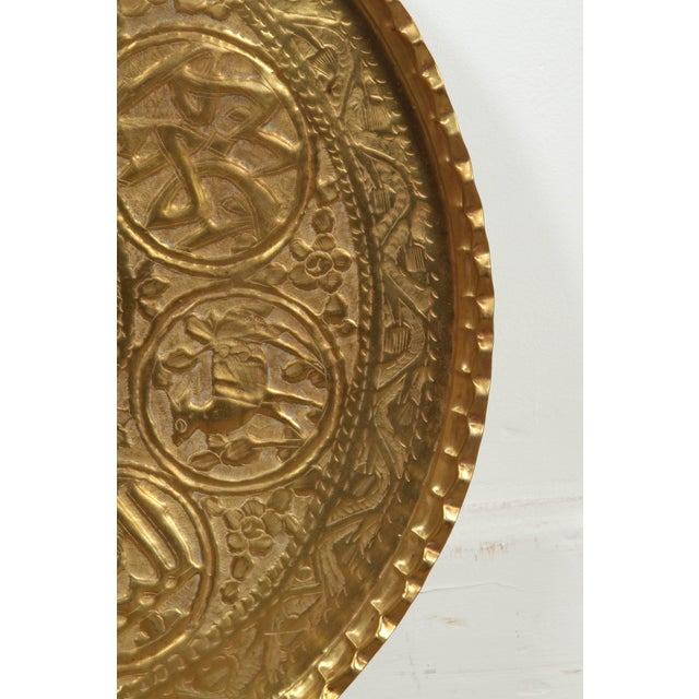 Metal Large Hand-Crafted Decorative Persian Hammered Brass Tray For Sale - Image 7 of 10