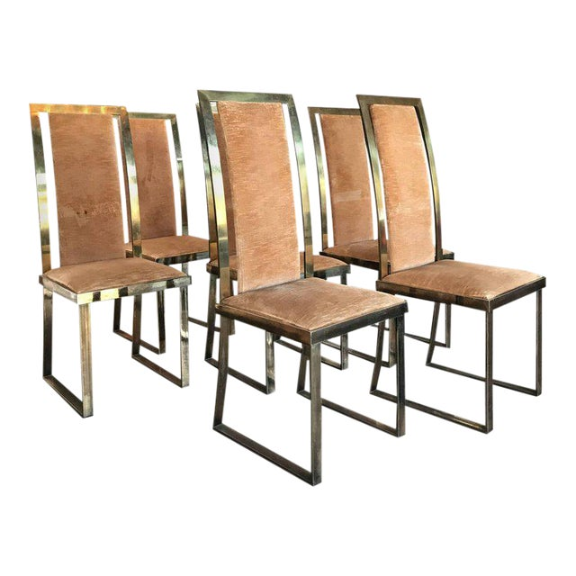 Italian Chairs in Massive Brass, 1960, Set of Four For Sale