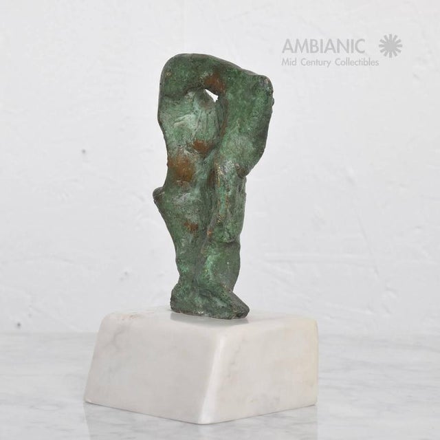 For your consideration a vintage Mid-Century Modern abstract bronze sculpture by Heriberto Juarez. Verdi-gris patina in...