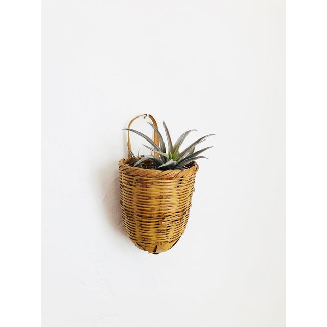A vintage Japanese wicker wall pocket vase. Perfect for holding dried flowers or an air plant.