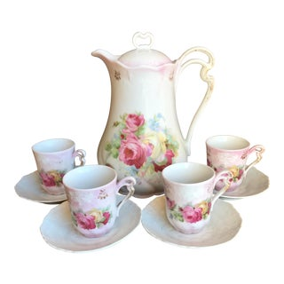 Vintage German Rose Tea Service Set - Set of 10