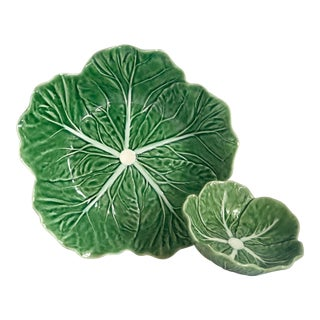 Bordallo Pinheiro/Majolica Cabbage Leaf Bowls- Set of 2 For Sale