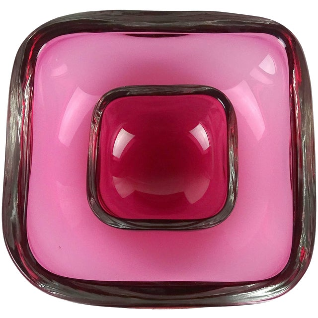 Oggetti Murano Sommerso Pink Italian Art Glass Decorative Bowl Dish Set - a Pair For Sale