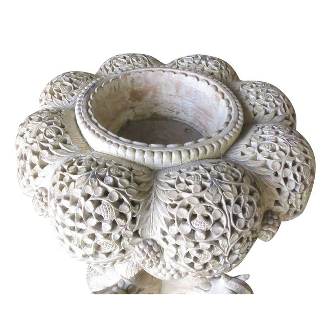 Large Hand-Carved Burmese Dragon Pedestal Planter For Sale - Image 4 of 10