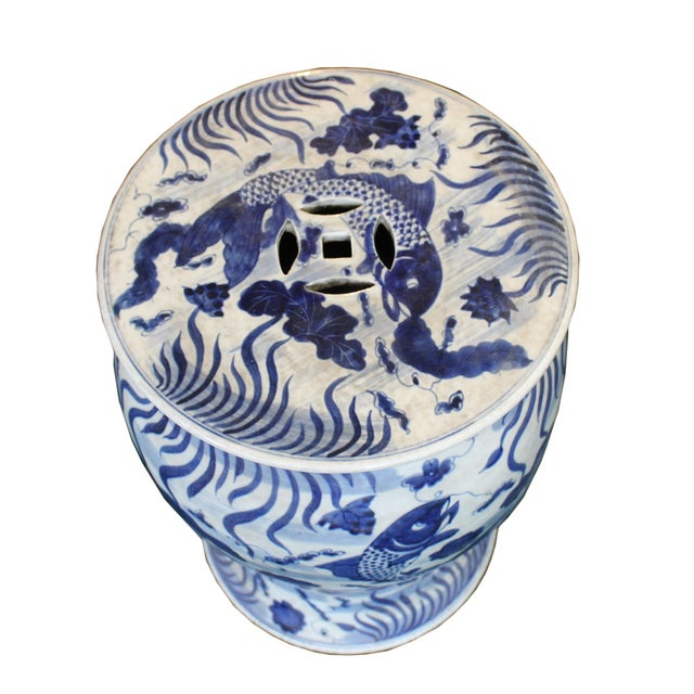 Ceramic Chinese Distressed Blue & White Porcelain Round Fishes Stool For Sale - Image 7 of 9