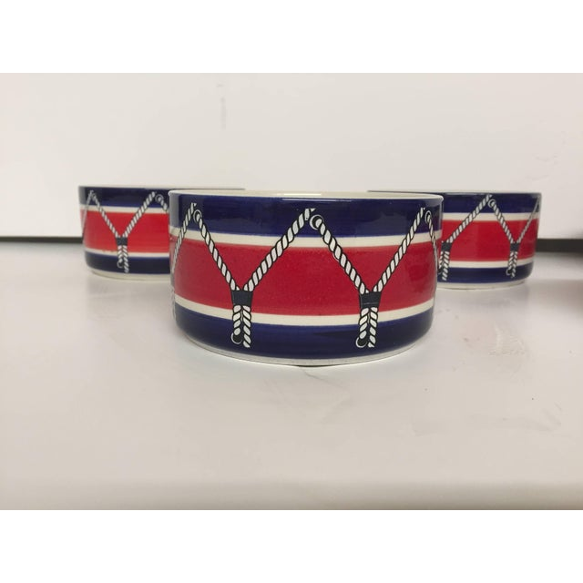 1960s Red White and Blue Mancioli Drum Motiffe Dinnerware For Sale - Image 5 of 11