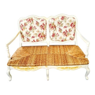 French Country Large 2 Seat Provincial Off White Floral Wood and Rush Settee Love Seat For Sale