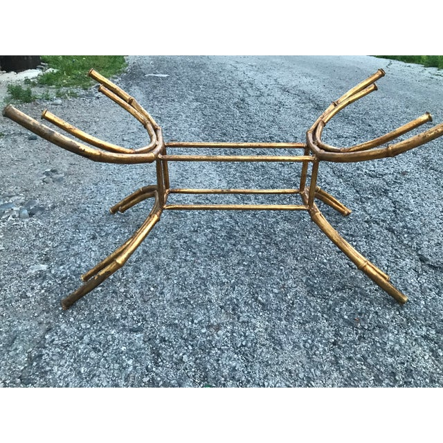 Gold 1960s Hollywood Regency Gilt Faux Bamboo Glass Top Coffee Table For Sale - Image 8 of 13