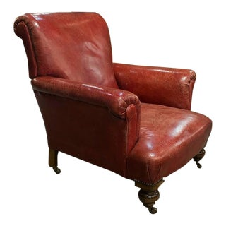 1960s Vintage English Red Leather Armchair For Sale